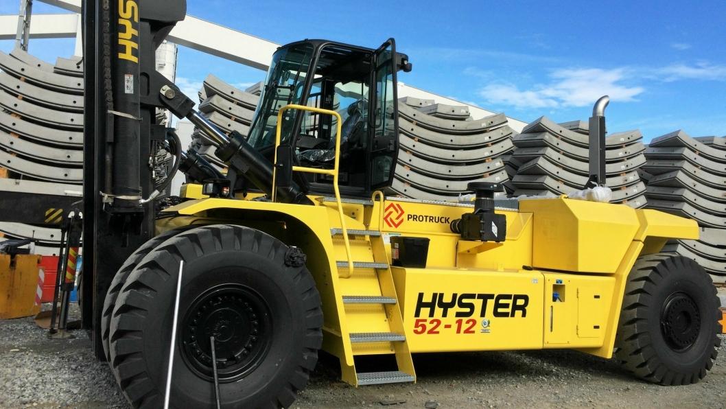 ProTruck solgte bare seks Hyster-maskiner i Norge i 2018. Dette er en 52-tonner som jobber på Follobanen, og som er levert tidligere.