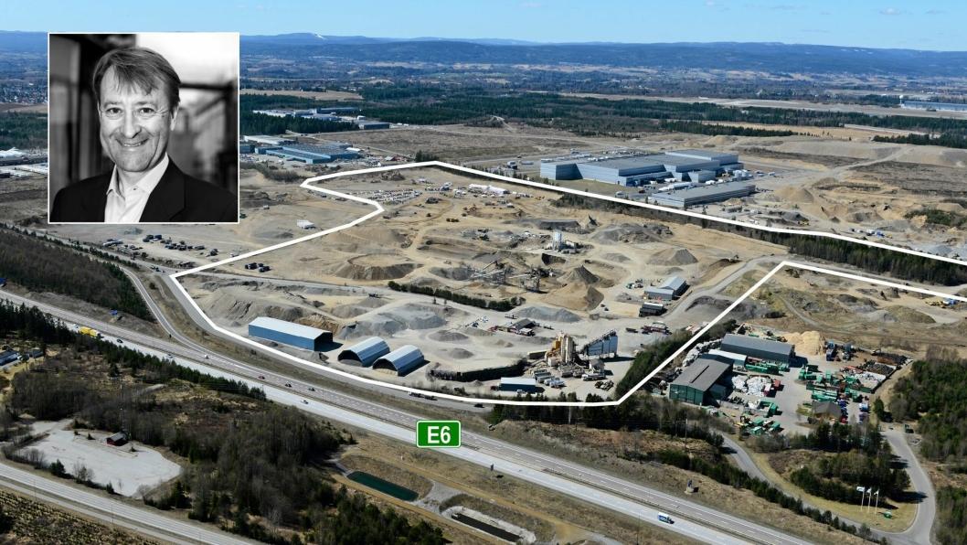 ATTRAKTIVT: Mellom E6 og Coops sentrallager C-Log har Fabritius store planer og muligheter for framtidige logistikkbygg. Den markerte tomten eide Fabritius før det omtalte oppkjøpet.