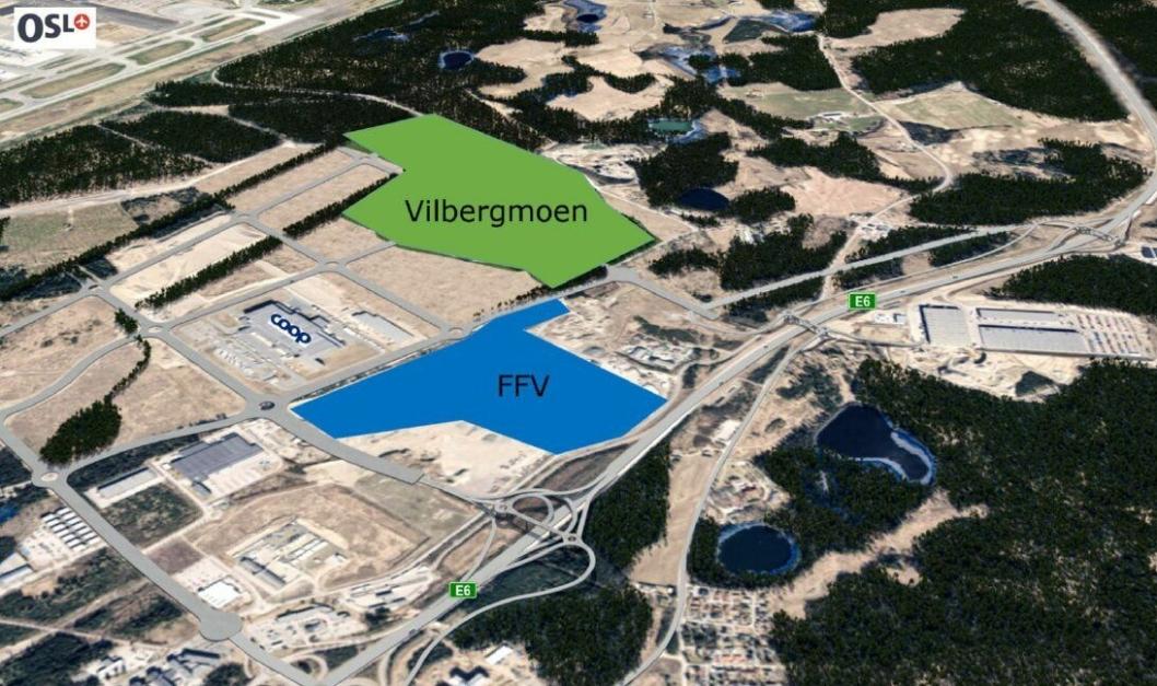 Den blå tomten eide FFV fra før, mens de nå har kjøpt det grønne arealet.