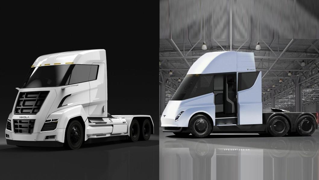 GANSKE LIKE: Nikola Motors har saksøkt Tesla for kopiering av lastebildesign. Til venstre: Nikloa Two, til høyre Tesla Semi.