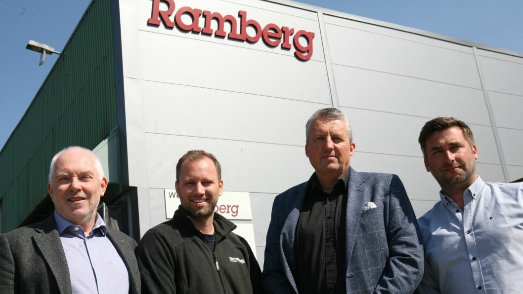 Mot nye høyder. Fra venstre Bjørn H. Ramberg, Bror H. Ramberg, Terje Claussen og Thomas Lindland. Nå flytter de hovedkontoret fra Drammen og bygger logistikksenter og godsterminal i Sande i Vestfold. Foto: Per Dagfinn Wolden