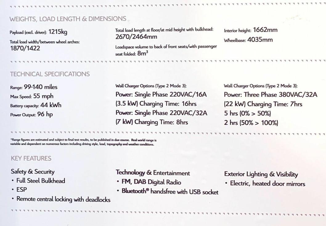 Spesifikasjonene for tvillingbilene Peugeot Boxer Electric og Citroën Jumper Electric.