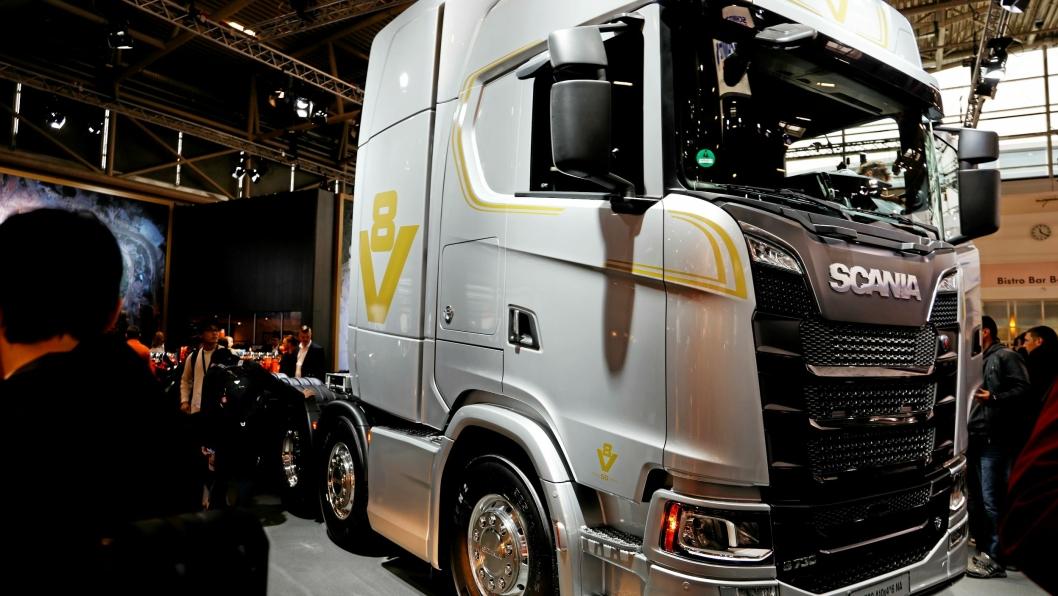 Scania selger lastebiler med god resultat, faktisk rekord så langt i 2019 sammenlignet med tidligere år. Her er lastebilprodusentens  V8 avbildet på Bauma 2019. Foto: Torbjørn EriksenBauma 2019. Foto: Torbjørn Eriksen