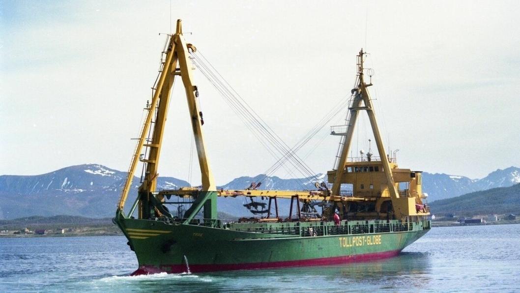 """""""Tege"""" ble bygd i 1971. Da Tollpost Globe la ned ruten mellom Bodø og Tromsø, med forlengelse nordover til Alta, ble skipet solgt til Libya og omdøpt til """"Just Mariam""""."""