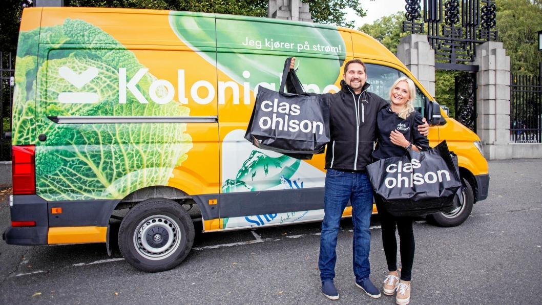Stine Trygg-Hauger, administrerende direktør for Clas Ohlson Norge og Daglig leder i Kolonial.no, Karl Munthe-Kaas gleder seg til å teste rett hjem-levering av Clas Ohlson-varer.