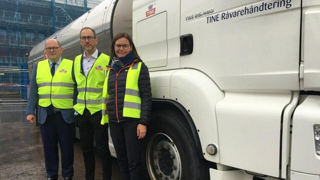 Petter Haas Brubakk, adm. dir. i NHO Mat og Drikke, direktør for tanktransport Vidar Hauan i Tine og Anna Brustad Moe i NHO Trøndelag.