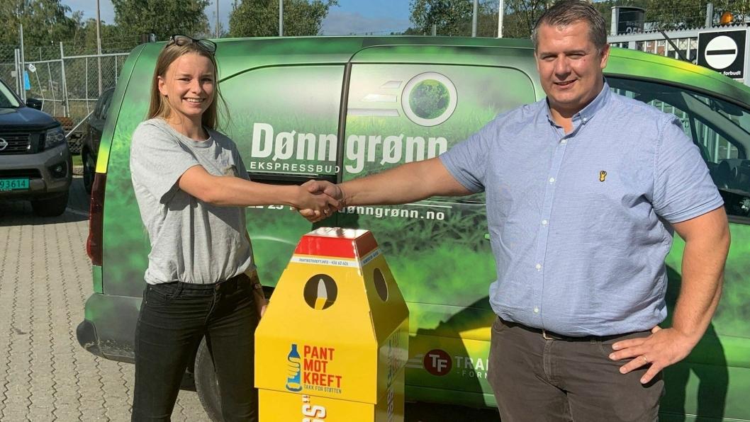 Eilen Jørgensen er initiativtaker til «Pant mot kreft» og får nå hjelp av Tore Alm og Transport-Formidlingen/Dønn Grønn ti å samle inn pant til en god sak.