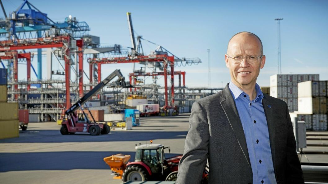 Havnedirektør Ingvar M. Mathisen gleder seg over en positiv godsutvikling i Oslo Havn.