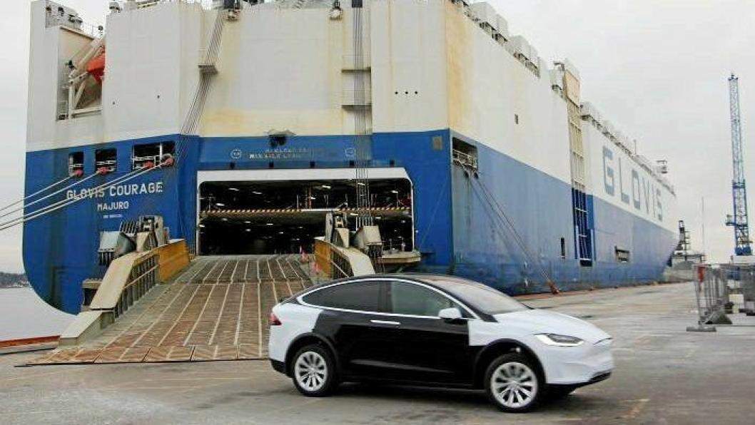 Tesla har bruk Oslo Havn for sine store leveranser i2019. Foto