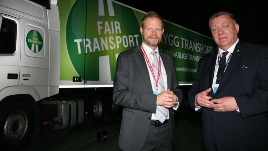NLF-sjef Geir A. Mo og adm. direktør Are Kjensli i NHO Logistikk og Transport er skjønt enige om at det må jobbes beinhardt for å få bukt med useriøse aktører i transportbransjen. Foto: Per Dagfinn Wolden