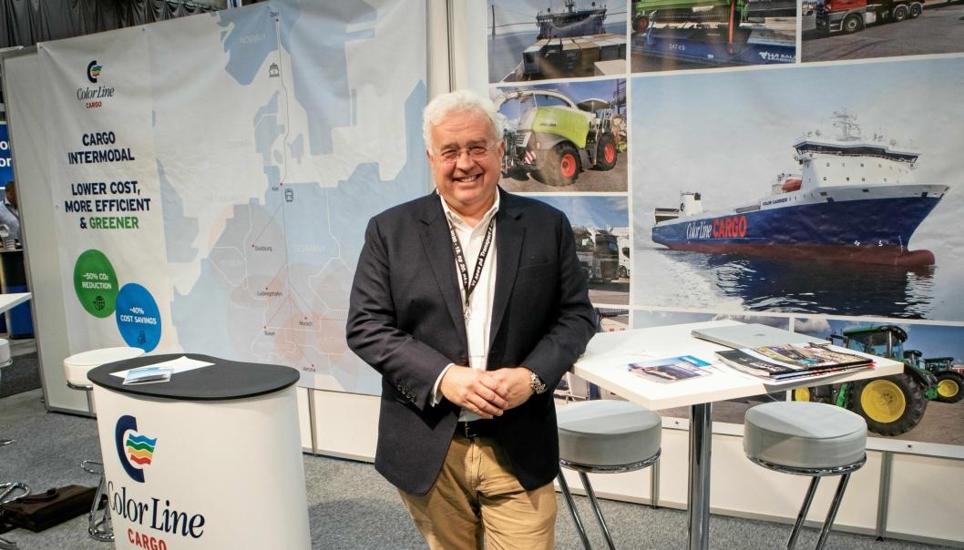 Trond Tønjum, salgs og markedsdirektør i Color Line Cargo presenterte det nye konseptet på Color Lines stand under Transport & Logistikk 2019 forrige uke.