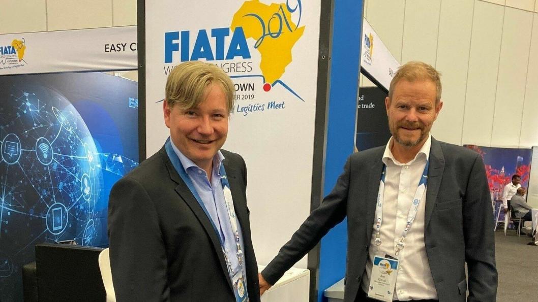 FIATAs Mr. Vice President, Ole Andreas Hagen, og NHO LT-sjef, Are Kjensli, på plass i Cape Town og på FIATAs verdenskongress 2019.