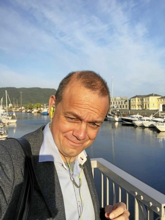 KLAR, FERDIG JOBB: Etter dusj og frokost på Vys samarbeidshotell var jeg klar for en dag på konferanse i Trondheim.
