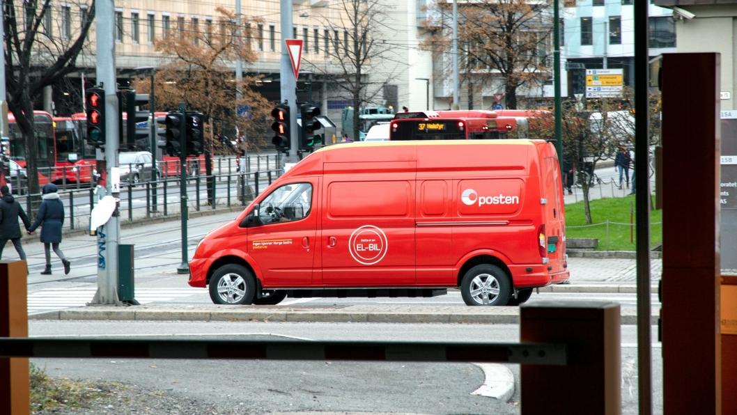 Denne kinesiske Maxus-en er en av 18 tilsvarende biler som vil bidra til at Postens bedriftspakkelevering i Oslo sentrum blir utslippsfri lokalt.