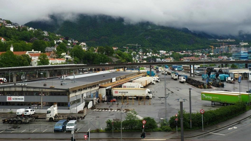 Nygårdstangen godsterminal i Bergen. Foto: Bane NOR