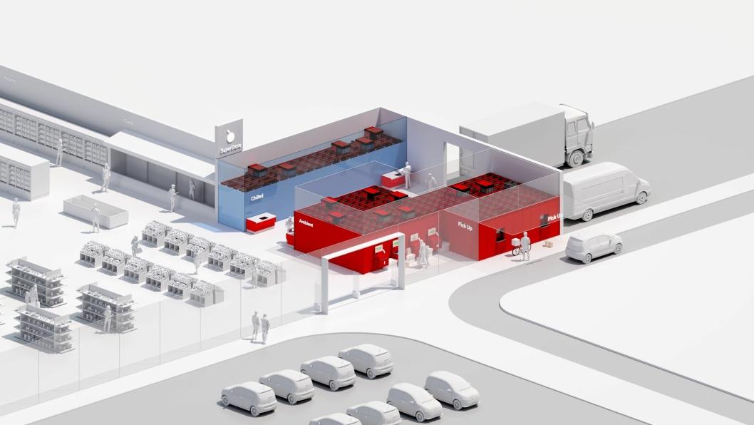 I bildematerialet som følger med nyheten fra AutoStore, ser selskapet for seg små mikrolagre i tilknytning til store butikker, som dermed kan ha flere varer lett og raskt tilgjengelig.