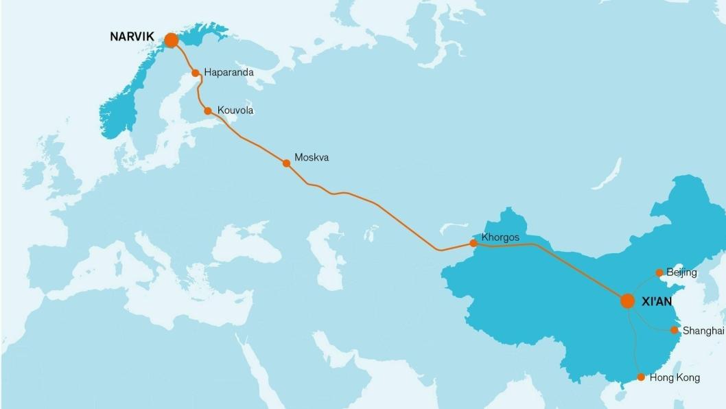På nyåret går den første skinnetransporten av laks mellom Narvik og Kina.