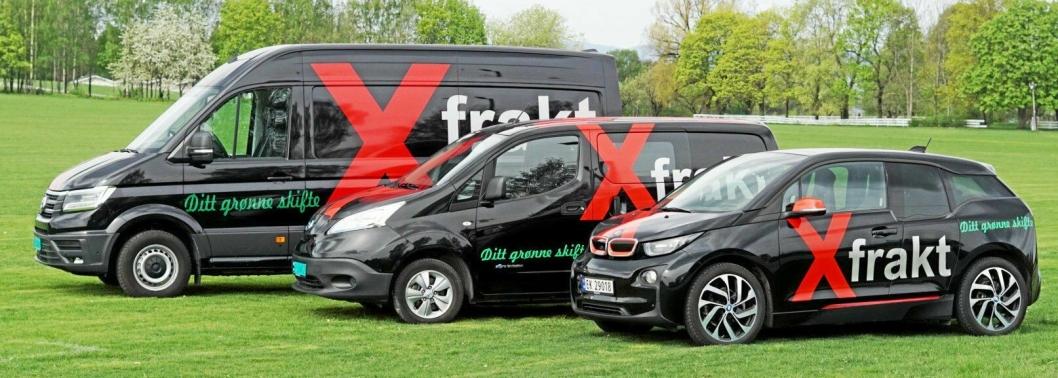 TRE STØRRELSER: Xfrakts bilflåte består i hovedsak av VW eCrafter, Nissan e-NV200 og BMW i3.
