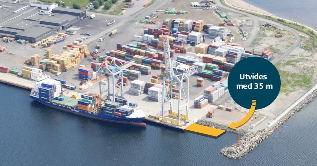 Larvik Havn har nylig forlenget kaien, delvis for å kunne håndtere Yara Birkeland. Nå ser det ut til at skipet ikke skal gå til Larvik likevel.