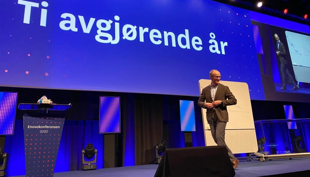 Enova-sjef Nils Kristian Nakstad åpnet Enovakonferansen i Trondheim i dag.