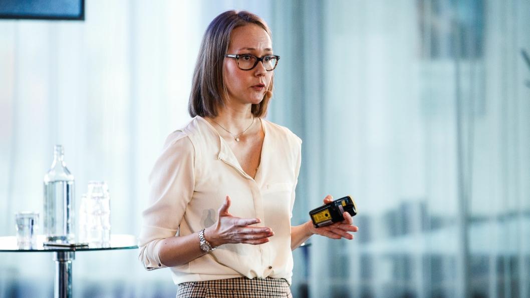 Det var klar tale fra Karoline Bjørklund, NHO LTs fagsjef for næringspolitikk på Enovakonferansen i Trondheim denne uken. (Foto: Kilian Munch/Enova)