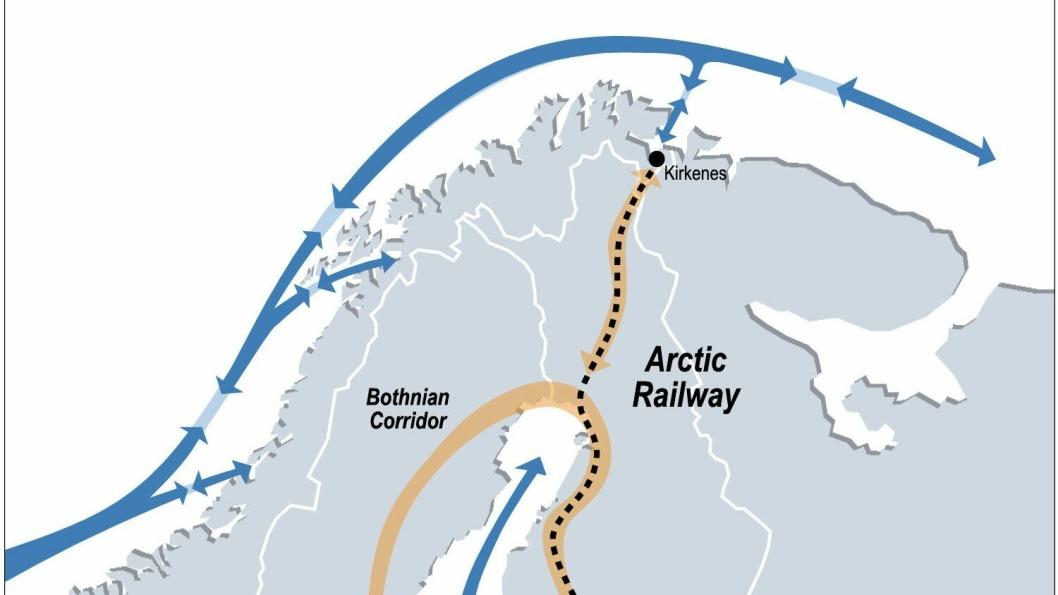 Strekningen mellom Rovaniemi og Kirkenes er 500 km, men noen jernbane blir trolig aldri bygget her. (Illustrasjon: Arctic Corridor)