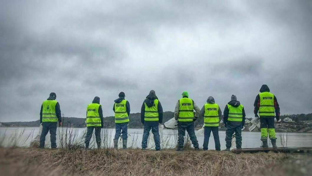 Ryddecrewet klart for en ny dag med plukking av søppel, som har blåst inn til naturreservatet Øra .  Are S. Grønsund er prosjektleder for «Marin omsorg».