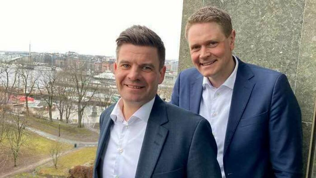 Lasse Kristoffersen, president i Norges Rederiforbund og CEO i Torvald Klaveness, og Harald Solberg, adm. dir. i Norges Rederiforbund, mener næringen må rekruttere bredere for å løse fremtidens utfordringer. Foto: Rederiforbundet.