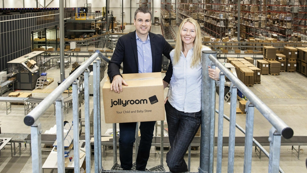 Grunnlegger og administrerende direktør Ole Sauar og logistikksjef Cecilia Olsson har ambisjoner om å gjøre Jollyroom til Europas ledende leketøysforhandler på nett.