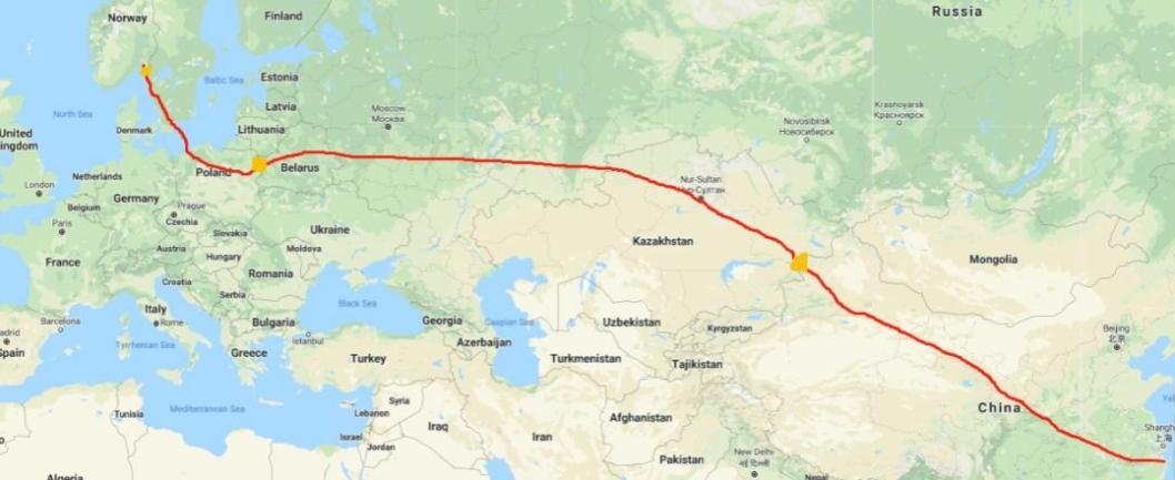 Ruten går fra Yuyao i Kina via Kasakhstan, Russland, Hviterussland, Polen og Sverige. – Vi er litt spente på hvor lang tid grensepasseringene vil ta, sier Vegard Kristiansen i Prime Cargo.