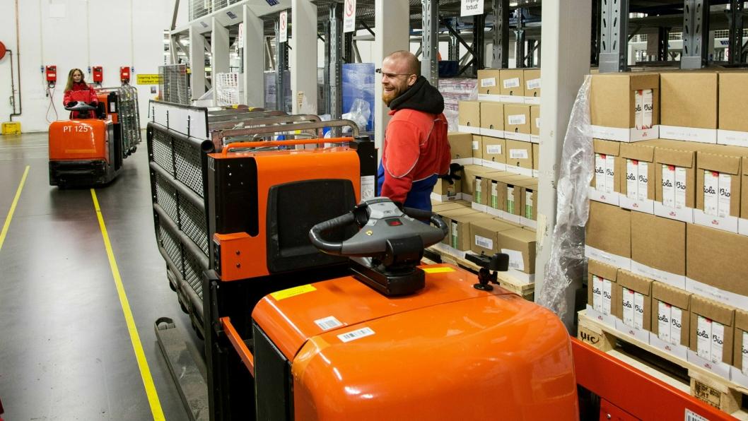 Små lagertrucker har hatt en sterk økning i salget. Her fra Tines lager på Kalbakken i Oslo.