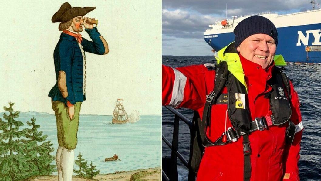 Los på1700-tallet til venstre (Foto: Norsk Folkemuseum) - og statslos Jim Pedersen i 2020 til høgre.