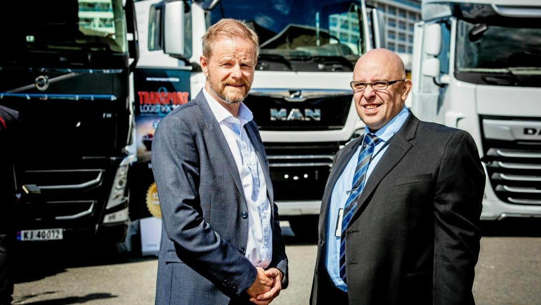 SATSER: Are Kjensli (til venstre), NHO Logistikk og Transport og Jo Eirik Frøise, Norsk Industri går inn for å arrangere konferanse i tilnærmet full skala i oktober.