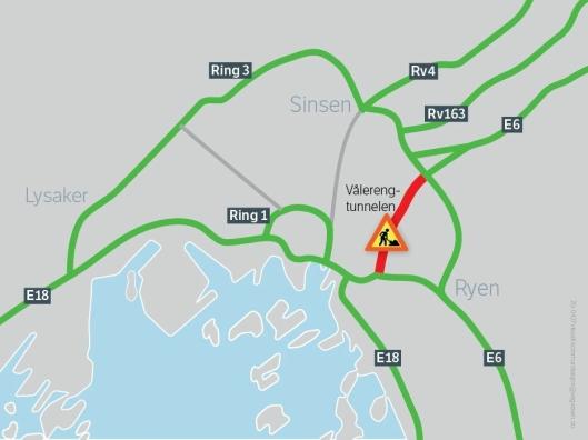 Ett av løpene i Vålerengtunnelen vil være stengt fra 8. juni 2020 til februar 2021.