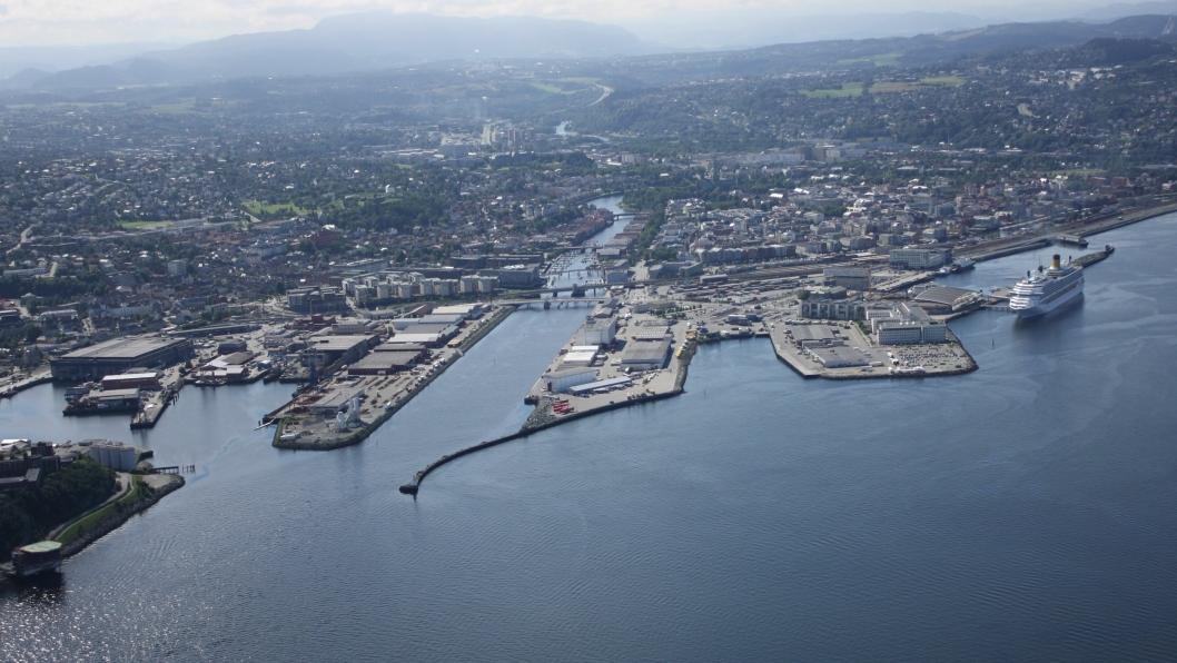 Trondheim Havn sett fra luften.
