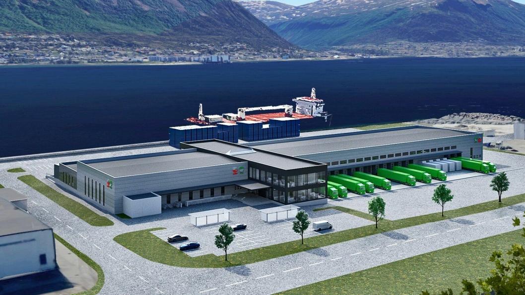 Den nye terminalen skal ligge rett ved kaia i Tromsø.