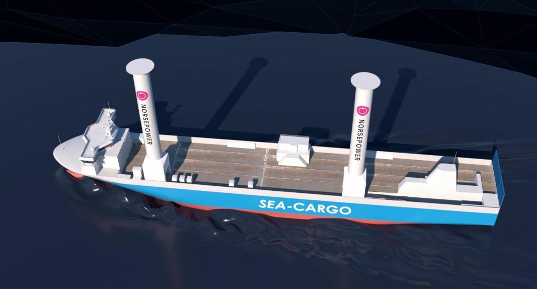 Med sine 35 meter høye rotorseil blir SC Connector Norges høyeste seilskip.