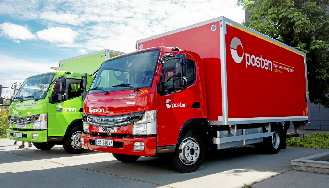 Posten/Bring har fått to elektriske lastebiler av merket Fuso eCanter fra Daimler.