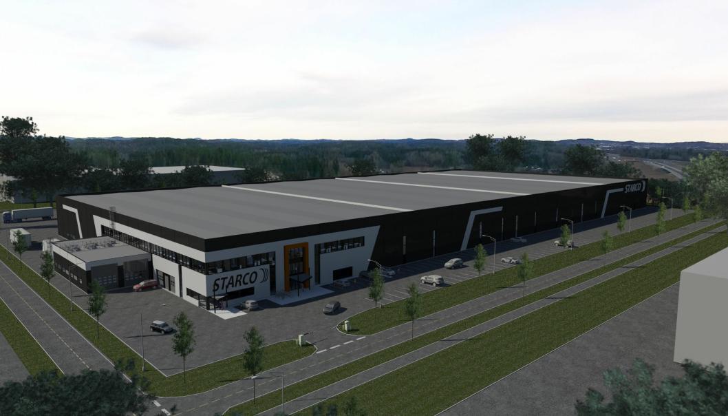 Dekkleverandøren Starco Norge AS har inngått leieavtale med Thon Eiendom om et nytt logistikk- og lagerbygg på ca. 23 000 kvadratmeter. Illustrasjon av nybygget.