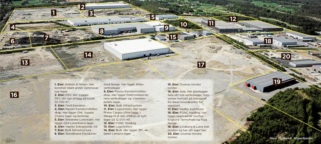 I MTs utgave i juni presenterte vi tomtene på utbyggingsområdet i Vestby. Det er tomten merket 3 Logicenters nå har kjøpt.
