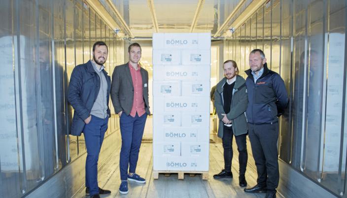 NCLs nye forbindelse mellom Norge og Storbritannia styrker eksportnettverket for laks fra Vestlandet. F.v. Håvard Apeland (NCL), Martin Torkelsen (NCL), Truls Ramsli (Ocean Quality) og Simon Nesse Økland (Bremnes Seashore)