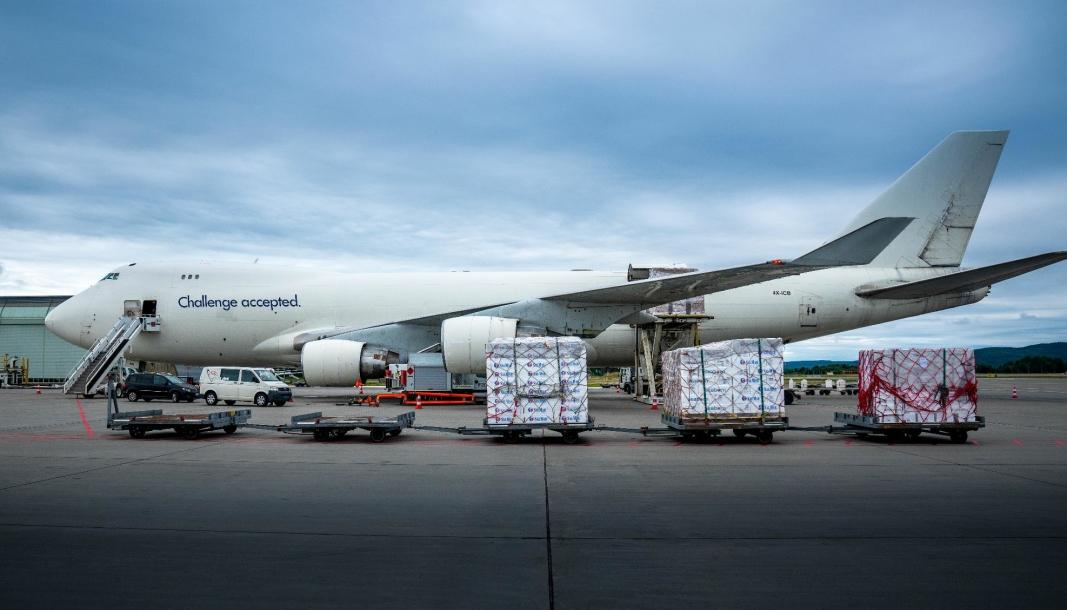Mye sjømat flys ut fra OSCC-terminalen på Gardermoen. Foto: Oclin/Chris-Håvard Berge