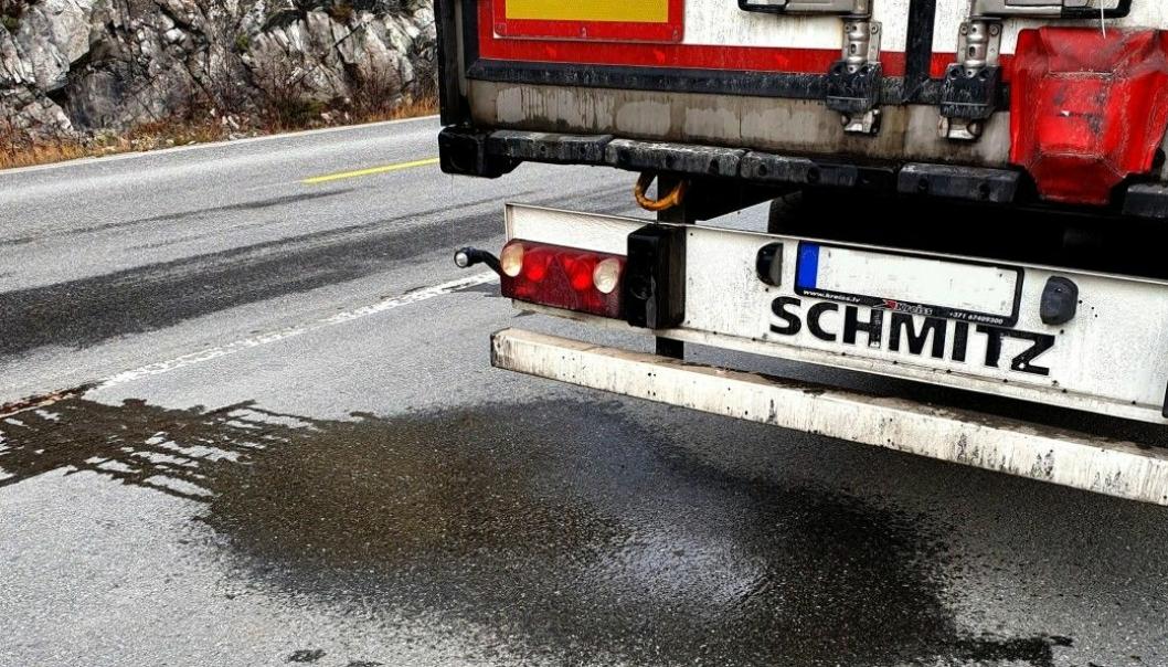 Hundrevis av vogntog fulle av fisk kjører daglig langs norske veger. Fisken er pakket i is, og når den smelter renner en rosa saus av vann og fiskeblod ut i veibanen.