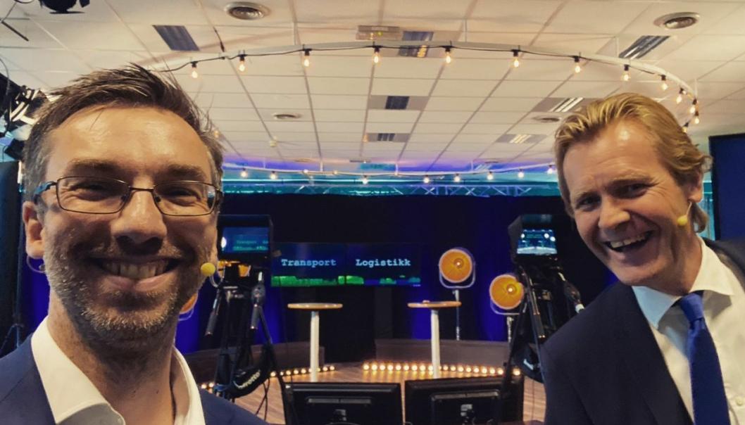 Alexander Haneng har hatt generalprøve på Transport & Logistikk 2020. Her er Posten/Brings ekspert på digital strategi og netthandel sammen med Erik Wold, konferansier, moderator og debattleder.