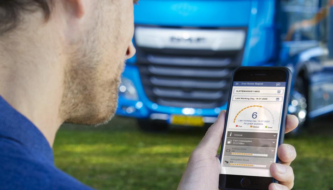 Den nye DAF Connect-appen gir førere informasjon om effektivt drivstofforbruk og mye mer.