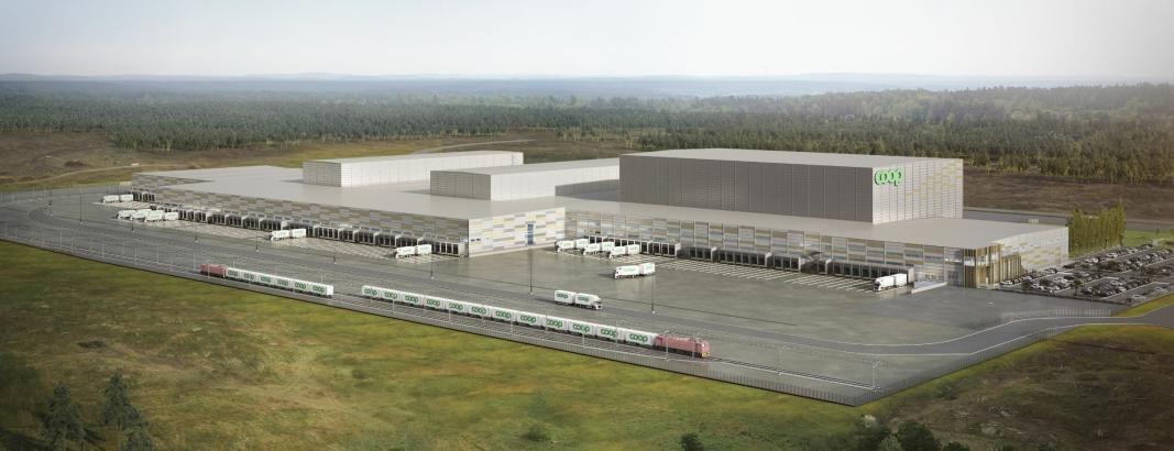 Coop Sverige satser på jernbanetransport, og bygger to jernbanespor på tomten på én kilometer hver.