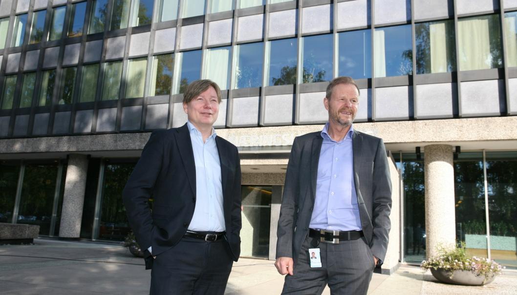 Adm. direktør Are Kjensli (t.h.) i NHO LT er glad for å ha skaffet seg en ny samferdselspolitisk tungvekter som Ole A. Hagen. Foto: Per Dagfinn Wolden