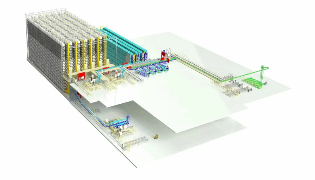 Det automatiserte lageret skal blant annet bestå av et 30 meter høyt pallelager og skyttelanlegg med plass til 40.000 kasser.