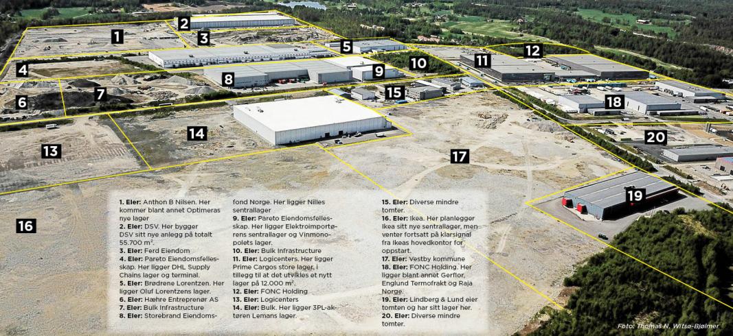I vår laget MT denne oversikten over tomtene på Vestby Næringspark Øst. NDIs nye lager skal bygges på tomt 4. OBS: eierforholdene kan være forandret siden vi laget denne oversikten.