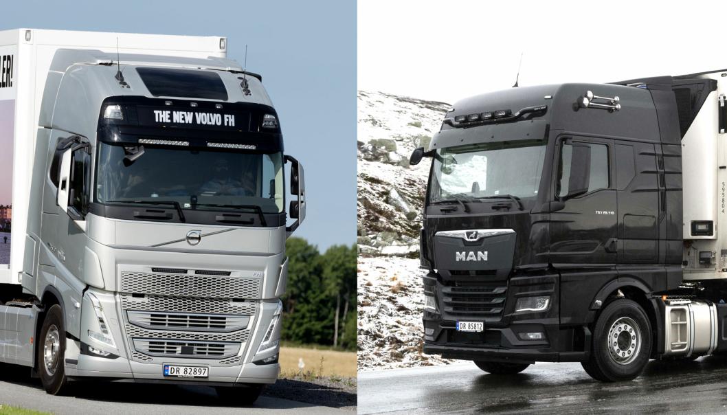 Mandag 23. november 2020 blir det offentliggjort hvilken av disse to som blir Truck of the Year 2021: Volvos FH-serie eller MAN TGX. Foto: Espen Braata